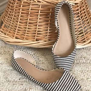 FOREVER 21 Navy and white striped flats